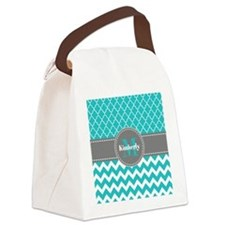 Gray and Blue Chevron Personalize Canvas Lunch Bag