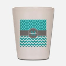 Gray and Blue Chevron Personalized Shot Glass
