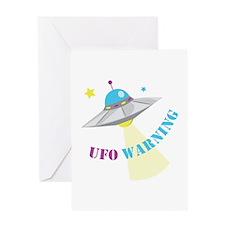 UFO Warning Greeting Cards