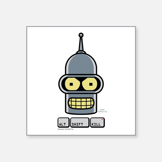 "Futurama Alt Shift Kill Square Sticker 3"" x 3"""