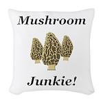 Mushroom Junkie Woven Throw Pillow