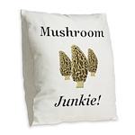 Mushroom Junkie Burlap Throw Pillow