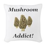 Mushroom Addict Woven Throw Pillow