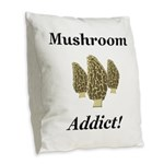 Mushroom Addict Burlap Throw Pillow