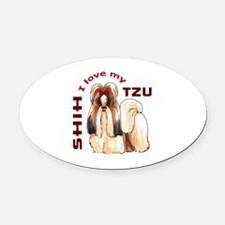 LOVE MY SHIH TZU Oval Car Magnet
