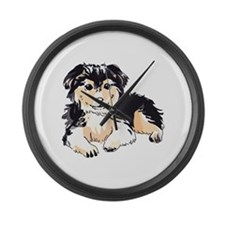 AUSTALIAN SHEPHERD PUPPY Large Wall Clock