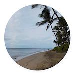 Maui Beach Palms Round Car Magnet