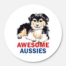 AWESOME AUSIIES Round Car Magnet