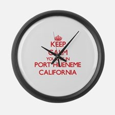 Keep calm you live in Port Huenem Large Wall Clock