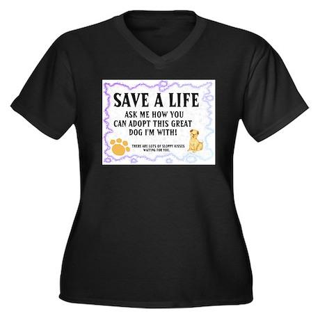 """Save a life"" Plus Size V-Neck Dark T-Shirt"