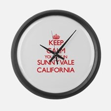 Keep calm you live in Sunnyvale C Large Wall Clock