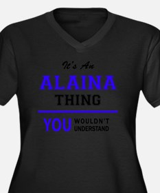 Unique Alaina Women's Plus Size V-Neck Dark T-Shirt