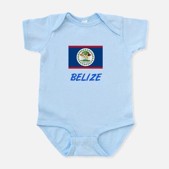 Belize Flag Artistic Blue Design Body Suit