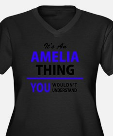 Cute Amelia Women's Plus Size V-Neck Dark T-Shirt