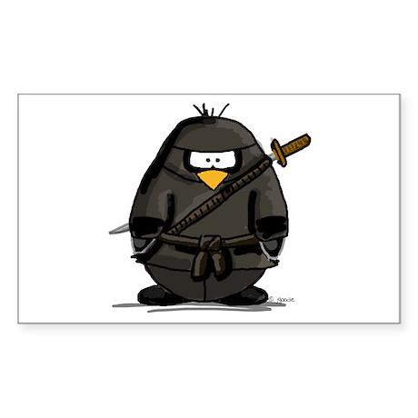 Martial Arts ninja penguin Rectangle Sticker