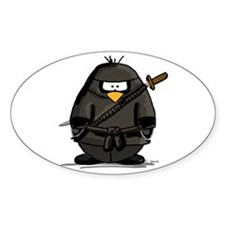 Martial Arts ninja penguin Oval Decal