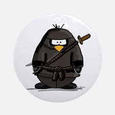 Martial Arts ninja penguin Ornament (Round)