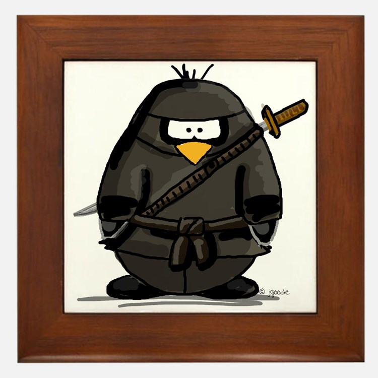 Martial Arts ninja penguin Framed Tile