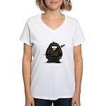Martial Arts ninja penguin Women's V-Neck T-Shirt