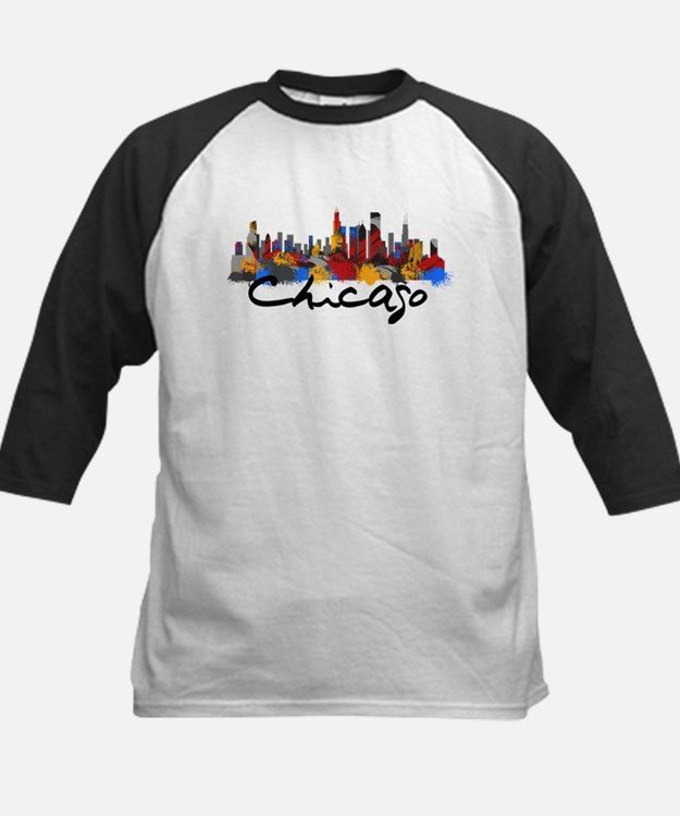 Chicago Illinois Skyline Baseball Jersey