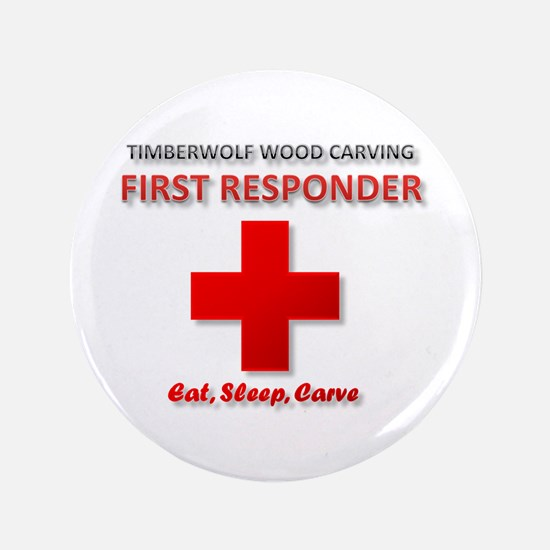 """Timberwolf Wood Carving First 3.5"""" Button"""