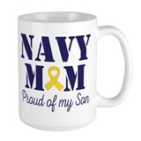 Navy mom Large Mugs (15 oz)