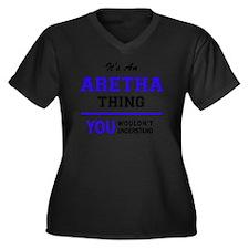 Cute Aretha Women's Plus Size V-Neck Dark T-Shirt