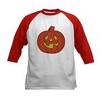Grinning Halloween Pumpkin Kids Baseball Jersey