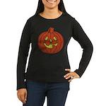 Grinning Halloween Pumpkin Women's Long Sleeve Dar