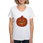Grinning Halloween Pumpkin Women's V-Neck T-Shirt