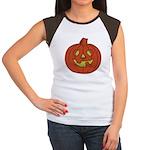 Grinning Halloween Pumpkin Women's Cap Sleeve T-Sh