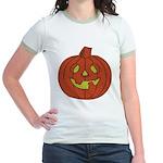 Grinning Halloween Pumpkin Jr. Ringer T-Shirt
