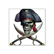 "Funny Pirates Square Sticker 3"" x 3"""