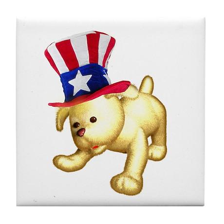 Patriotic Pup Tile Coaster