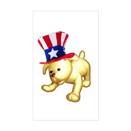 Patriotic Pup Rectangle Sticker