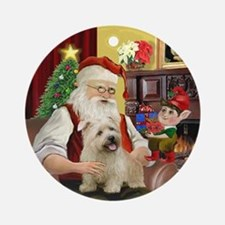 Santa & his Glen of Imaal Terrier Ornament (Round)