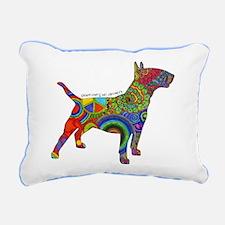 Peace Love Bull Terriers Rectangular Canvas Pillow
