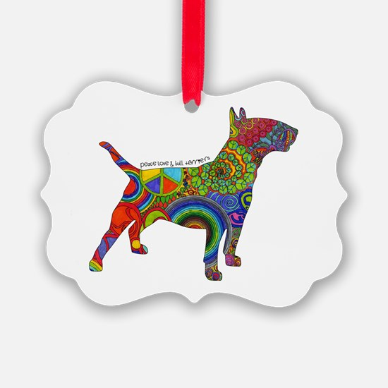 Peace Love Bull Terriers Ornament