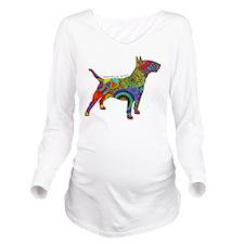 Peace Love Bull Terr Long Sleeve Maternity T-Shirt
