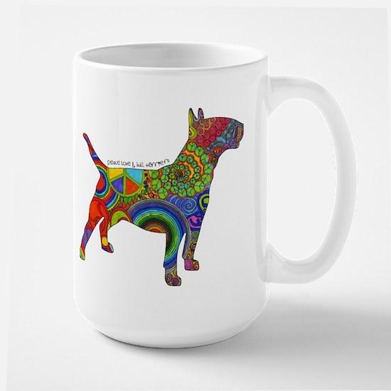 Peace Love Bull Terriers Large Mug