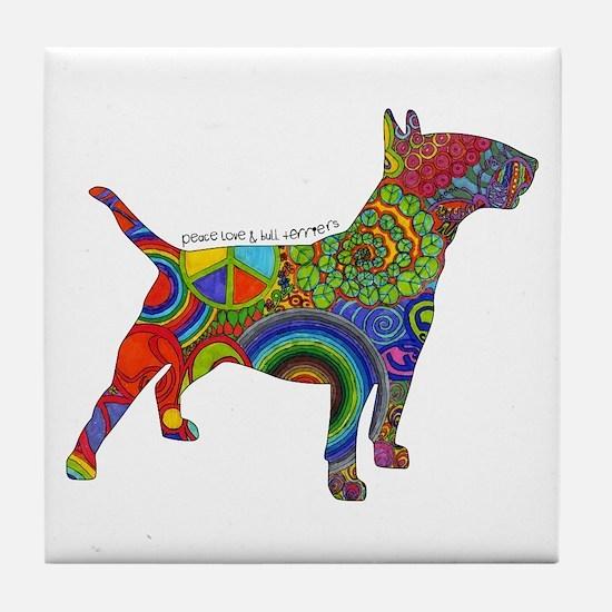 Peace Love Bull Terriers Tile Coaster
