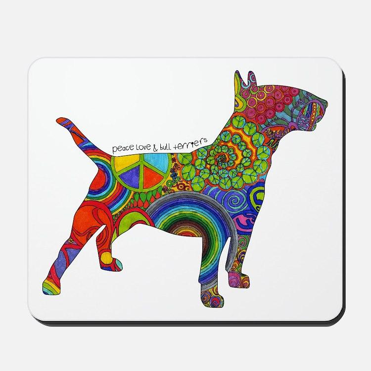 Peace Love Bull Terriers Mousepad