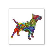 "Peace Love Bull Terriers Square Sticker 3"" x 3"""