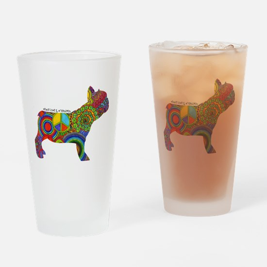 Peace Love Frenchies Drinking Glass