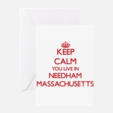 Keep calm you live in Needham Massa Greeting Cards