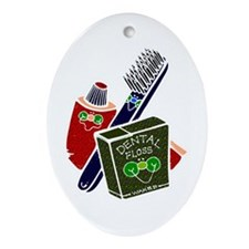 Toothbrush Toothpaste Floss Oval Ornament