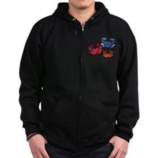 Blue & Red Mosaic Crab Trio Zip Hoody