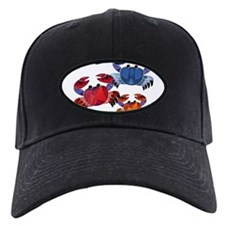 Blue & Red Mosaic Crab Trio Baseball Hat