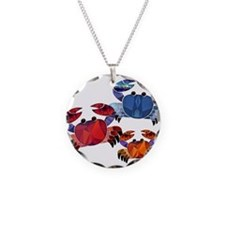 Blue & Red Mosaic Crab Trio Necklace
