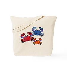 Blue & Red Mosaic Crab Trio Tote Bag